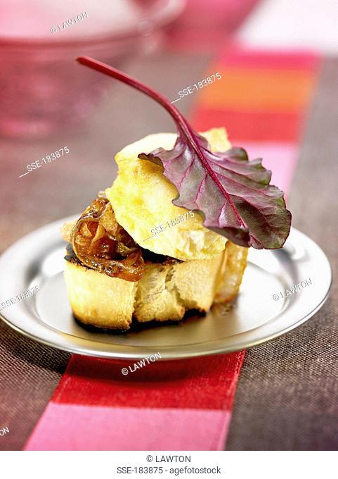 Cod and onion crostini