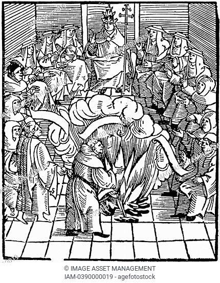 Pope Leo X Giovanni de' Medici 1475-1521, Pope from 1513 supervising the burning of Martin Luther's books after the first Diet of Worms, 1521  Woodcut