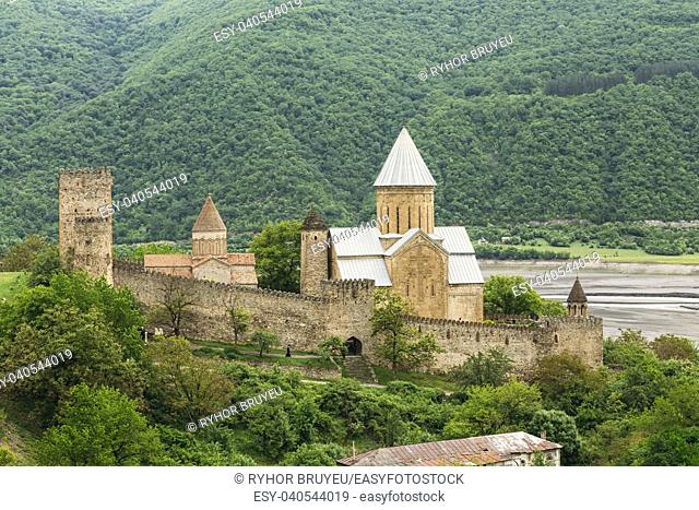 Castle complex Ananuri in Georgia, about 72 kilometres from Tbilisi. Large tower (Sheupovari) is well preserved and is location of last defense of Aragvi...