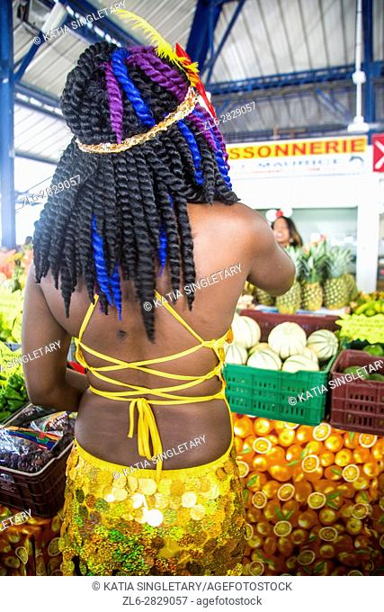 At the marina of the little town in South Martinique during the big open market for Mardi gras