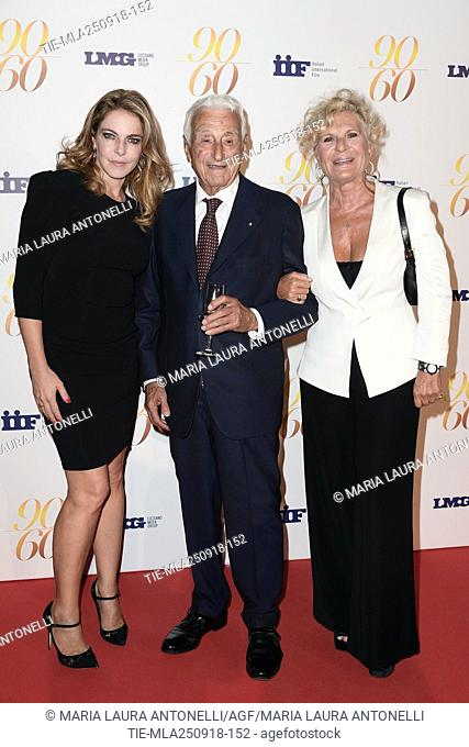 Claudia Gerini, Fulvio Lucisano, Nicoletta andrcole during red carpet of 60/90 party, for 60 years of career and ninetieth birthday of Fulvio Lucisano