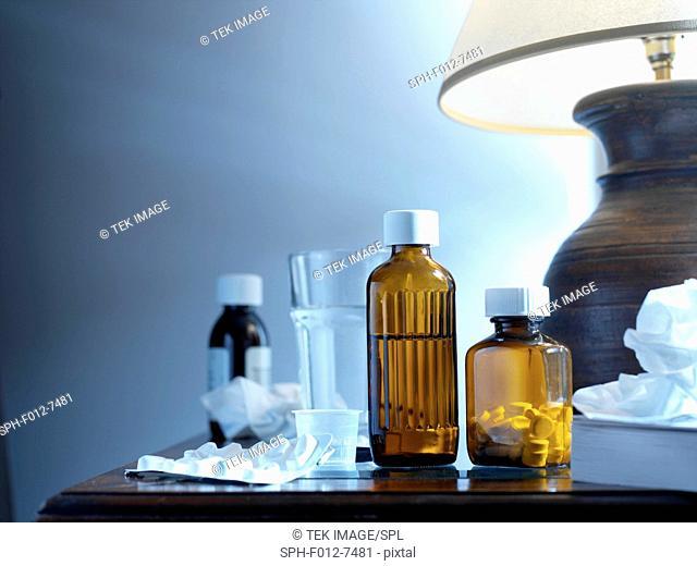 Medicine on bed side table