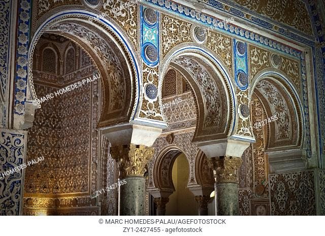 Interior view of rooms of the Alcazar palace (Seville, Spain)