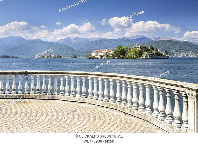 View of the Borromean Islands, Isola dei Pescatori and Isola Bella from a balcony on the lake front of Stresa in a spring day