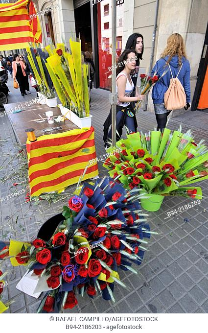Flowers stall, St George's Day Catalan holiday, Barcelona. Catalonia. Spain