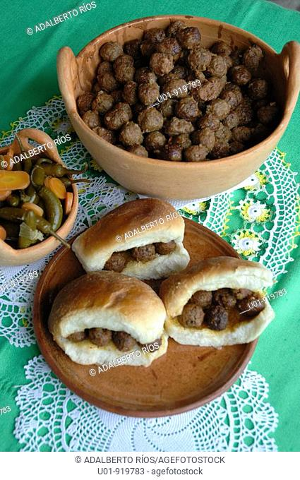 Mexican food: seasoned pork balls