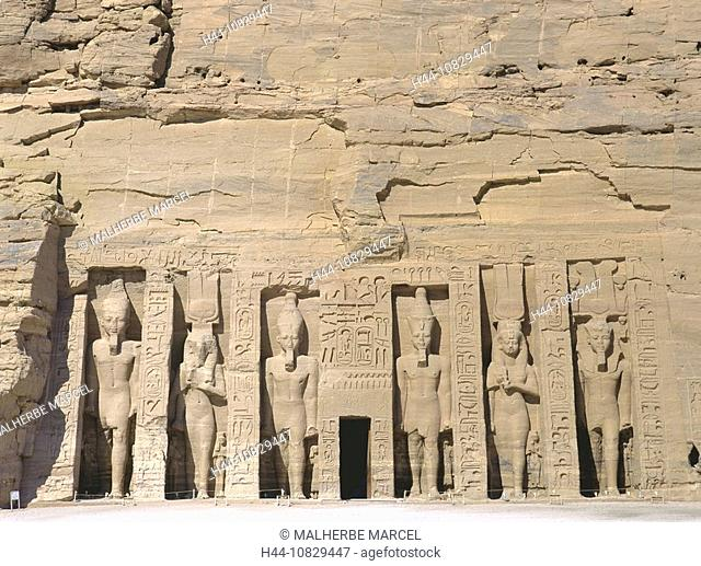 Egypt, North Africa, Abu Simbel, small, little, temple, rock temple, Ramses, Nefertari, Hathor, figures, statues, cult