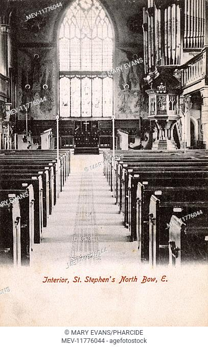 Interior of St Stephen's Church, Tredegar Road, Bow, East London