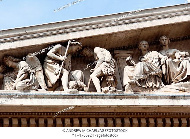 Close up of the front exterior of the British Museum showing pillars frieze  London