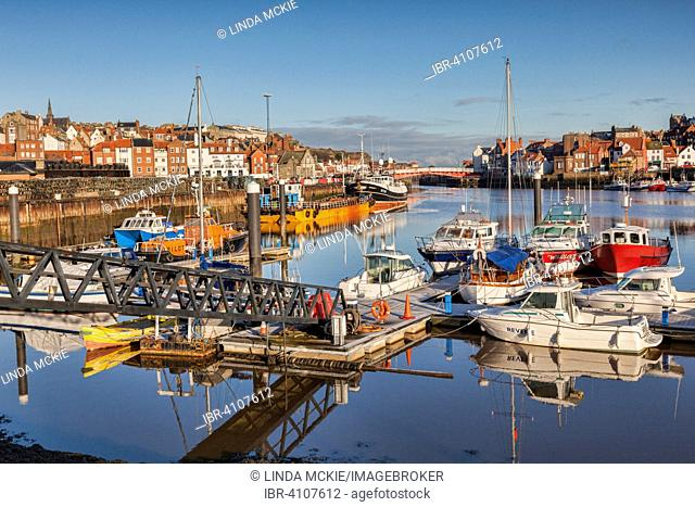 The fishing port of Whitby, River Esk, sunny winter morning, Whitby, North Yorkshire, England, United Kingdom