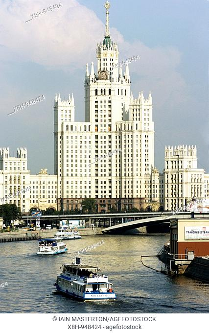 One of the so-called Stalin`s Seven Sisters apartment buildings in central Moscow