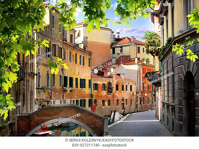 Old venetian houses and streets in the morning, Italy