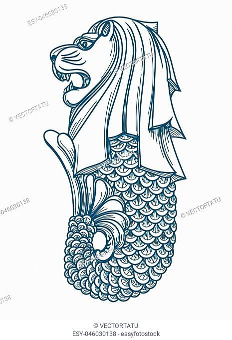 Singapore. Marine lion fountain statue icon vector illustration, asian singapores business symbol