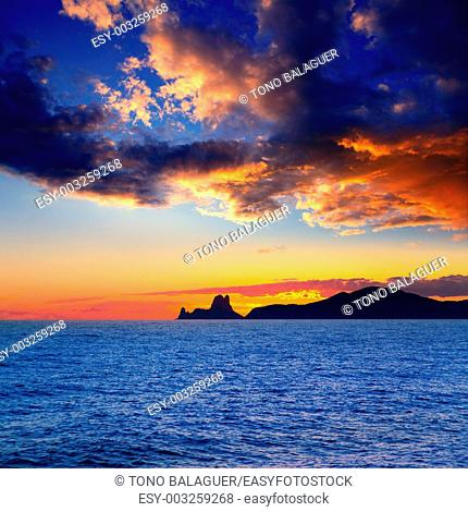 Ibiza island sunset with Es Vedra in background at Balearic islands