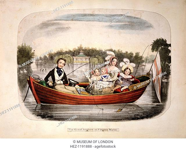 'The Royal Anglers on Virginia Water', (c1850?). Queen Victoria, Prince Albert and their children on a family fishing trip in Surrey