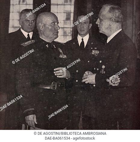 Meeting in Palazzo Venezia between Benito Mussolini and Joachim von Ribbentrop (1893-1946), February 25, 1943, Rome, Italy, World War II