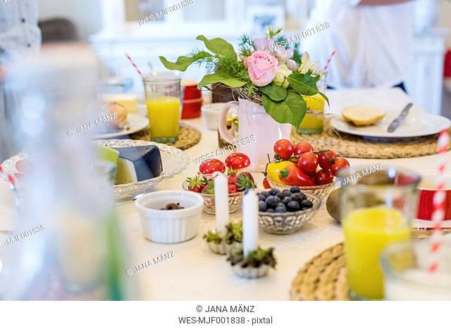 Healthy food on laid table