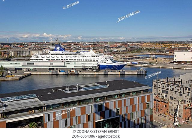View over Copenhagen from a containership, Denmark