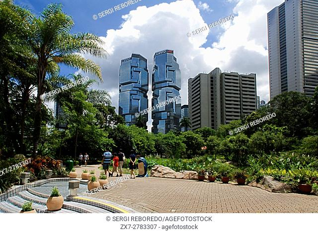Hong Kong Park, Hong Kong, China. The Hong Kong Park is a public park next to Cotton Tree Drive in Central, Hong Kong. It covers an area of 80,000 m²