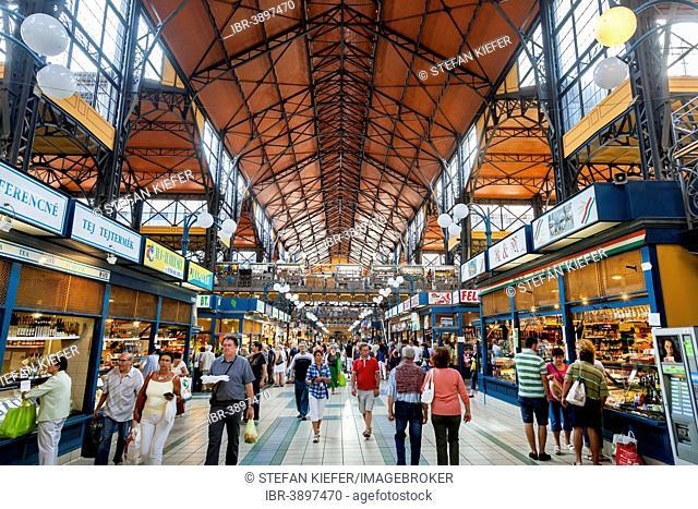 Interior, Great Market Hall or Central Market Hall, Központi Vasarcsarnok, Budapest, Hungary