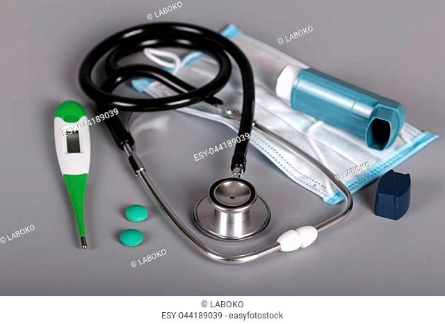 Tools for diagnosis and treatment of pulmonary diseases, on gray background