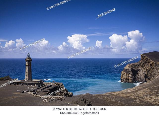 Portugal, Azores, Faial Island, Capelinhos, Capelinhos Volcanic Eruption Site, elevated view of site and lighthouse