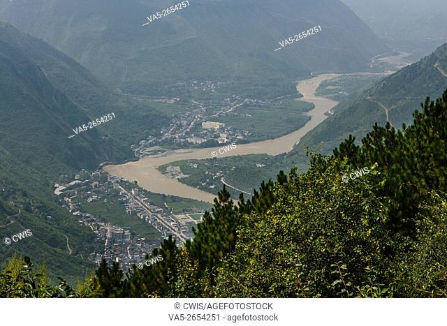 Ya'an, Sichuan province, China - Beautiful landscape at Erlang Mountain with Luding Country and Minjiang river at below in the daytime