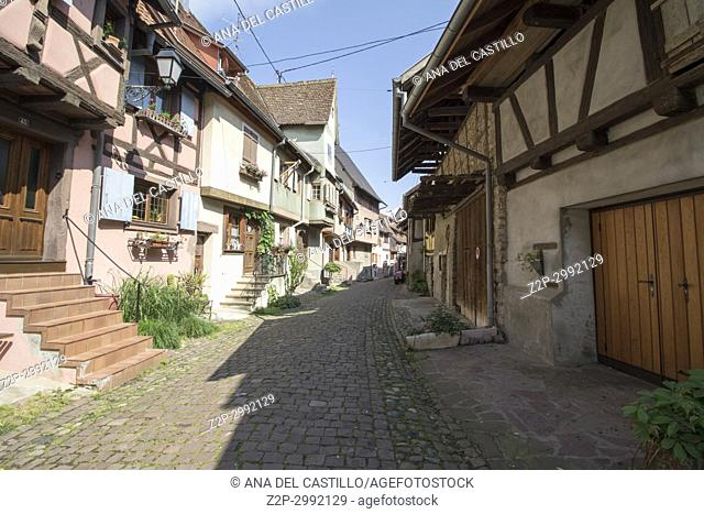 Eguisheim village, traditional colorful houses on May 14, 2016 in Alsace, France