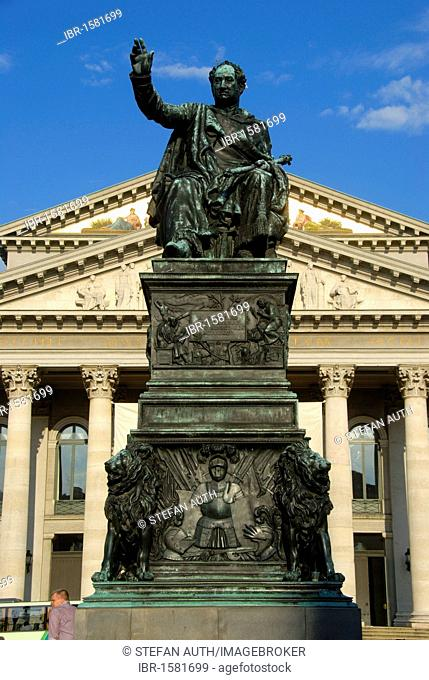 Monument of King Joseph Maximilian II of Bavaria made of bronze, opera building, National Theatre, Bavarian State Opera, Max-Joseph-Platz square, downtown