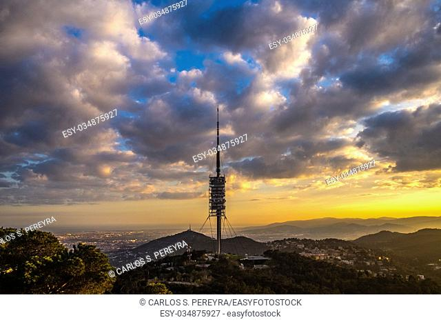 communications tower, by Norman Foster, in Collserola Park,Barcelona,Catalonia,Spain