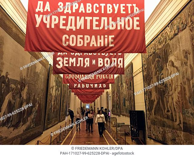 Red banners mark the way that the workers and soldiers took during the October Revolution at the Winter Palace in St. Petersburg, Russia, 25 October 2017