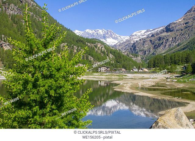 Ceresole Reale lake along col du Nivolet in Gran Paradiso National Park