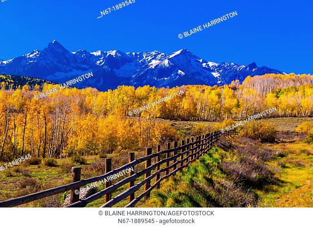 Double RL Ranch near Ridgway, Colorado USA with the Sneffels Range in the San Juan Mountains in the background