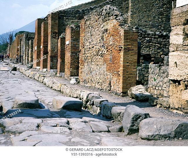 Pompeii in Italy, City destroyed and completely buried during an Eruption of the Volcano Mount Vesuvius in August 79, a Unesco World Heritage Site since 1997