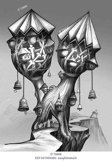 Fairy-tale tree-town with bells. Bit-mapped art-illustration