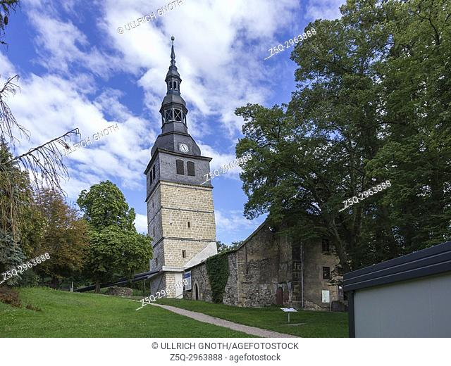 The steeple of the Oberkirche Church, the Leaning Tower of Bad Frankenhausen, Thuringia, Germany