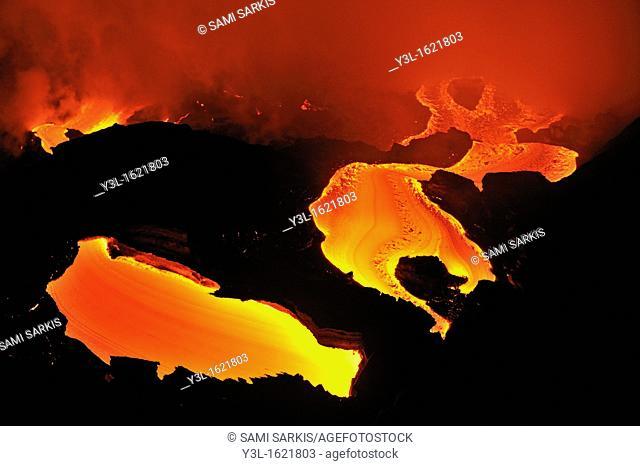 River of molten lava flowing to the sea, Kilauea Volcano, Big Island, Hawaii Islands, USA