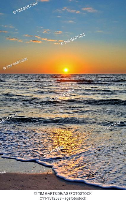 sunset over sea,naples,florida,usa
