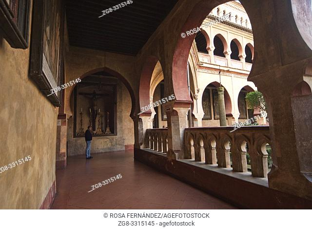 Mudejar Cloister , Royal Monastery of Santa Maria of Guadalupe, XIV Century, Guadalupe, province of Caceres, Extremadura, Spain