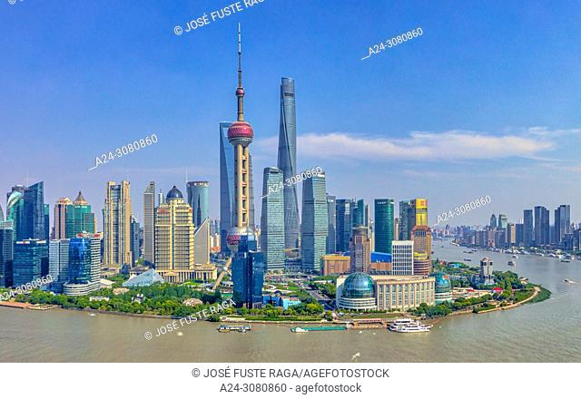 China, Shanghai City, Pudong District, Lujiazui Area,Huangpu river,Oriental Pearl Tower,. ,World Financial Center and Shanghai Tower. Panorama