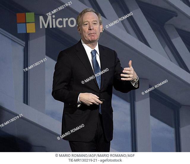 Brad Smith President Microsoft during the meeting, Milan, ITALY-13-02-2019