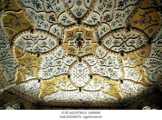 Decorated ceiling, Museum of Applied Art, 1872-1897, Art Nouveau style, Pest, Budapest (UNESCO World Heritage List, 1987). Hungary, 19th century