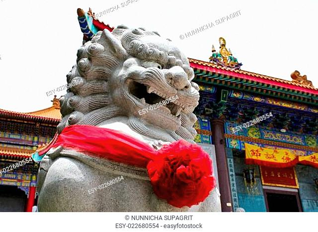 Chinese Lion Stone Sculpture in the Chinese Temple in Nonthaburi, Thailand