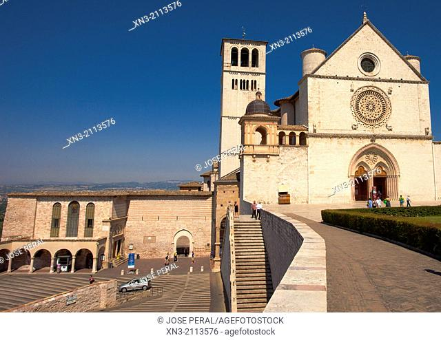 Papal Basilica of St Francis of Assisi, Basilica Papale di San Francesco Assis, UNESCO World Heritage site, Perugia province, Umbria, Italy, Europe