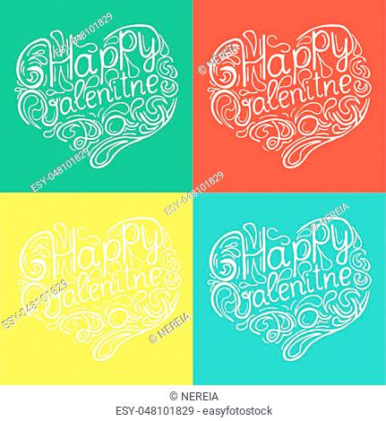 Hand drawn lettering of phrase Happy valentines day. Unique typography poster or apparel design. Modern brush calligraphy