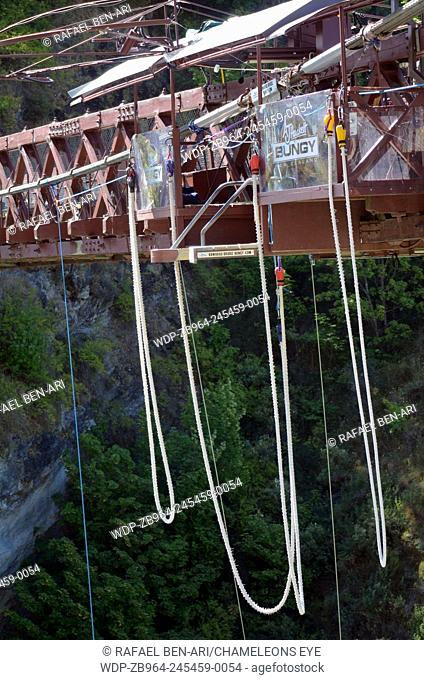 QUEENSTOWN, NZ - JAN 17:Kawarau River bungy empty, on Jan 17 2014, the world's first permanent commercial bungee site.Photo by Rafael Ben-Ari/Chameleons Eye