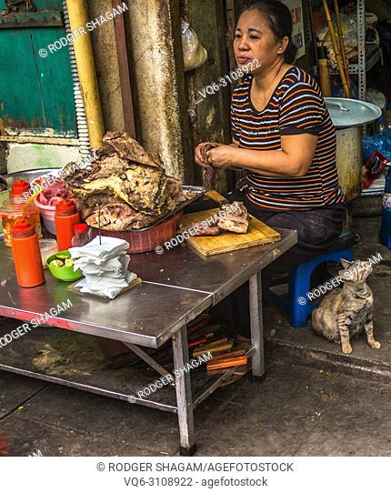 Very unappetising-looking pavement food stand. Side walk take-away. Hoi An, Vietnam
