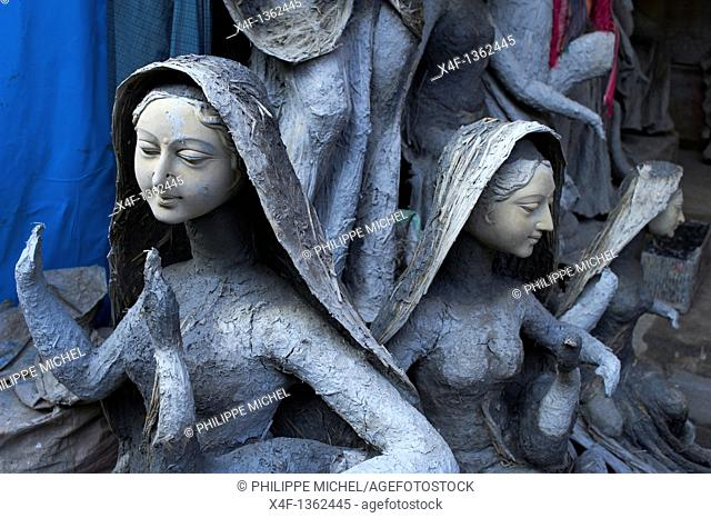 India, West Bengal, Kolkata, Calcutta, Kumartulli district, clay idols of Hindu gods and goddesses, statue