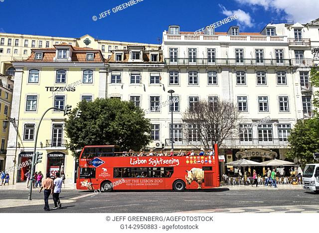 Portugal, Lisbon, Rossio Square, Pedro IV Square, sightseeing bus, double-decker motorcoach