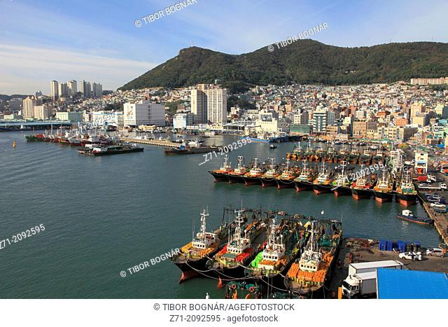 South Korea, Busan, harbor, fishing boats, general view,